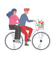 happy romantic couple riding bike with bouquet of vector image