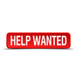 help wanted red 3d square button on white vector image vector image