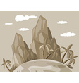 Island view in grayscale vector image vector image