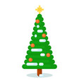 isolated green xmas tree for happy winter holidays vector image vector image