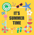 its summer time background with elements for vector image vector image