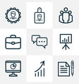 job outline icons set collection of manager vector image vector image