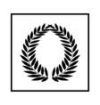 laurel wreath black in square modern symbol of vector image vector image