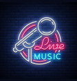 live musical neon logo sign emblem vector image vector image