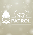 logotype ski patrol on gray snow background vector image