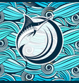 marlin fish against the background of stylized vector image vector image