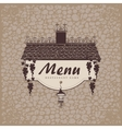 menu with grapes on a stone wall vector image vector image