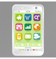 Mobile white smartphone with icons element for des vector image