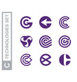 modern professional set logos c technology vector image