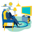old man watching tv at home cartoon vector image