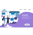 online marketing landing page web services for vector image