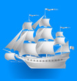paper sailing ship on blue background vector image vector image