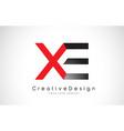 red and black xe x e letter logo design creative vector image
