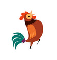 rooster standing on one leg farm cock with bright vector image vector image
