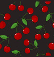 seamless pattern cherry on gray background vector image vector image