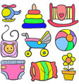 set of baby object various doodles vector image vector image