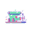 sewing machine for fabrics vector image vector image