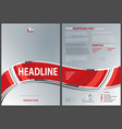 silver flyer template with red waved banner vector image