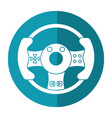 steering wheel video game shadow vector image vector image