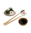Sushi with salmon in chopsticks above bowl and soy vector image