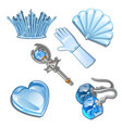 the set of items and stylish decorations of ice vector image vector image