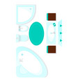 top view bathroom interior element vector image vector image