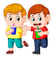 two boy drinking soda on paper cup vector image vector image