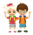 two fashion small children with backpacks vector image vector image