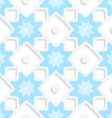 White snowflakes and dots with blue top seamless vector image
