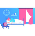 young woman sleeping in bed girl rise hand to turn vector image