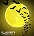 Bats fly over moon vector image