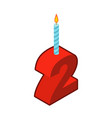 2 number and candles for birthday two figure for vector image