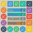 A check mark icon sign Set of twenty colored flat vector image vector image