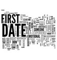 after the first date text word cloud concept vector image vector image
