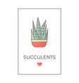 banner flat line color icon cactus vector image vector image