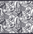 beautiful seamless pattern with tropical flowers vector image vector image