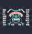 bicycle vintage logo creator with parts and ribbon vector image vector image