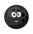 Black bowling ball with a happy smile vector image vector image