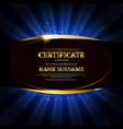 black gold elegant certificate template vector image
