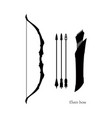 black silhouettes elven bow with arrows vector image