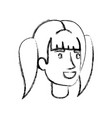 Blurred silhouette of woman face with ponytail