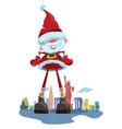 Cartoon santa claus on the background of new york