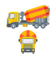cement mixer truck side view and front view vector image vector image