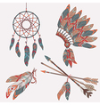 Colorful ethnic set with dream catcher feathers