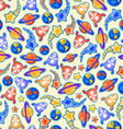 Cosmic Doodle Seamless Pattern vector image