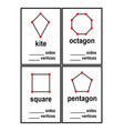 count sides and vertices shapes worksheet for pres vector image
