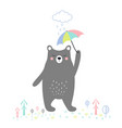 cute bear with umbrella vector image
