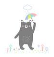 cute bear with umbrella vector image vector image