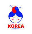cute korea woman face logo design vector image