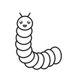 cute little worm kawaii character vector image vector image